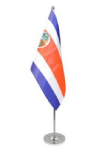 Costa Rica Desk / Table Flag with chrome stand and base.